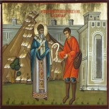 Sfantul Spiridon schimband sarpele in aur